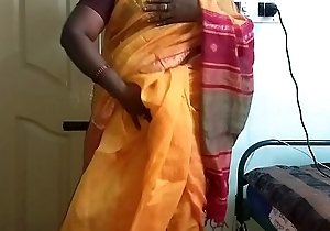 desi  indian horny tamil telugu kannada malayalam hindi cheating get hitched vanitha wearing orange colour saree  showing big boobs and shaved pussy press hard boobs press nip rubbing pussy masturbation