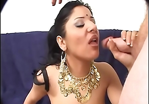 Indian slut with lovely ass pussy sucked and fucked by big dong on love-seat