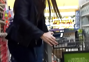Hot woman at supermarket