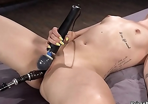 Blonde gets shinny up with vibrator and machine