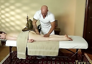 Cutie sucks off masseur