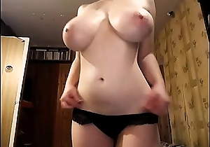 The Most Awesome Pair of TITS you'_ll see today! Naturally busty girl strips and masturbates. 100% real giant boobs, overwhelming amateur juggs on a powdered chick.