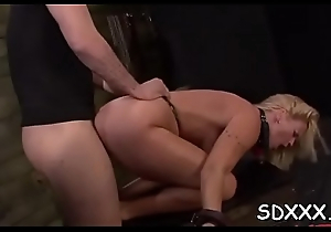 Young bitch gets mistreated by a large dick in her face hole