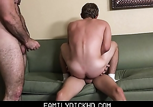 Young Twink Step Son And His Twink Outdo Friend Threesome With Bear Step Dad After Workout