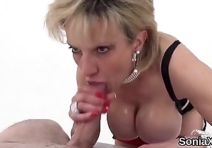 Unfaithful british mature lady sonia shows off her massive knockers