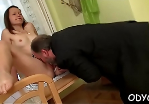 Remarkable amateur babe gives an aged dude a steamy oral-job