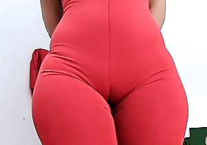 HUGE ASS Super ROUND and Tiny Waist Complement Plus Cameltoe in Tight Spandex Bodysuit