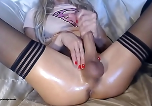 Really Hot Blonde Tranny With A HUGE Cock Jacks Off
