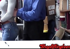 Black shoplifter sucking and fucking mallcop after stealing