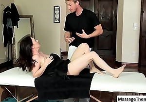 Sexy murky milf RayVeness get her nice round boobs rubbed during relaxing massage
