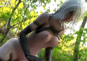 A2 saddled a guy in the woods - Nier Automata 3D Cartoon