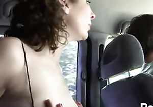 Nasty strumpet goes wild in cab and gets hard fucked