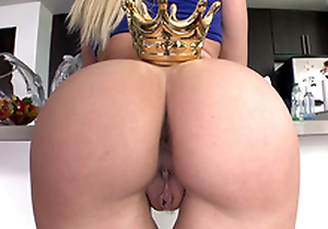 Astonishing Anikka Albrite in blue top crowns awesome ass in the kitchen