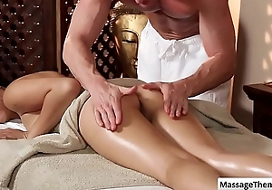 Cutie asian babe Miko Dai gets a nice ass rub and boobs massage