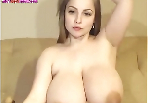 Camgirl with Herculean breasts