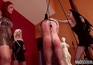 A tied slave is getting spanked with the addition of treated with kinky sex toys