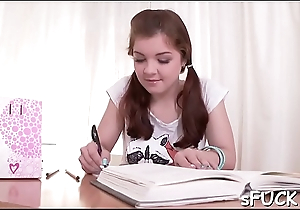 Seductive legal age teenager wanted to drill her nice, studying buddy